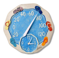 "14"" Round Starfish Outdoor Clock and Thermometer"