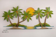 5 Palms and Sunset Wall Art