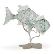 Recycled Glass Double Clown Fish on Metal Stand