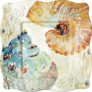 "8"" Square Plate Watercolor Shells"