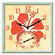 "12"" Square Orange Hibicus Outdoor Clock and Thermometer"