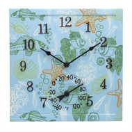"12"" Square Under the Sea Outdoor Clock and Thermometer"