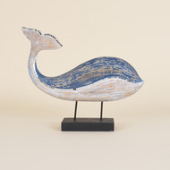 Blue Whale on Stand with Mirrored Mosaic Accent