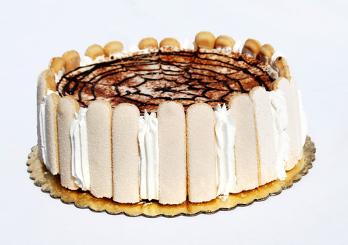 "This beautiful cake is a perfect end to an Italian meal! Made with the freshest ingredients that inlcude moist sponge cake, delicious coffee liquor, rich marscarpone cheese and whip cream. It is then decorated with elegant lady finger cookies and dark cocoa powder. 8"" Round Serves 8-10 people"