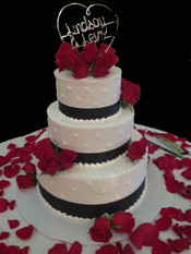Rose and Ribbon Wedding Cake
