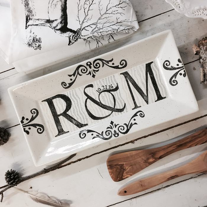 Hand painted, personalized Double Monogram Wedding Platter