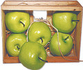 "66371 Green Apples in Crate A ""farmer's market"" wood crate holds six 3"" lifesize green apples, nestled in a bed of natural raffia.  Made of lightweight foam, these are so realistic and are ideal for using in creative artwork or decor projects."