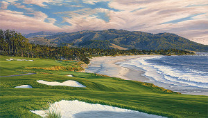 2010 U.S. Open Championship, The 9th Hole, Pebble Beach Golf Links, by Linda Hartough MUSEUMEDITION CANVAS