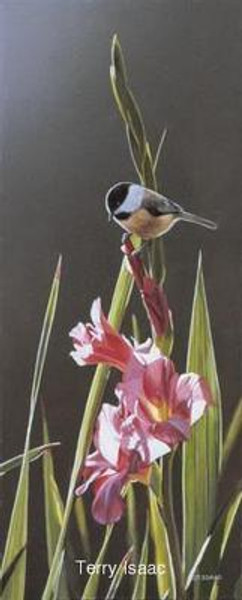 Chickadee and Gladiolas, Terry Isaac Canvas