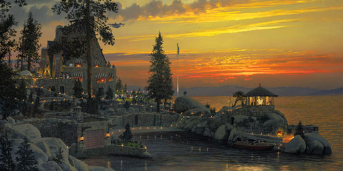 An Evening to Remember at Thunderbird Lodge, Lake Tahoe, William S. Phillips LIMITED EDITION CANVAS