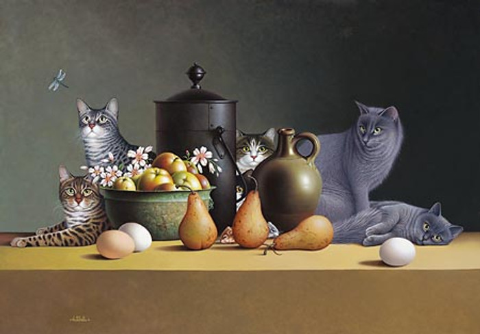 STILL LIFE WITH THREE EGGS AND FOUR PAIRS, by Braldt Bralds L.E.CANVAS