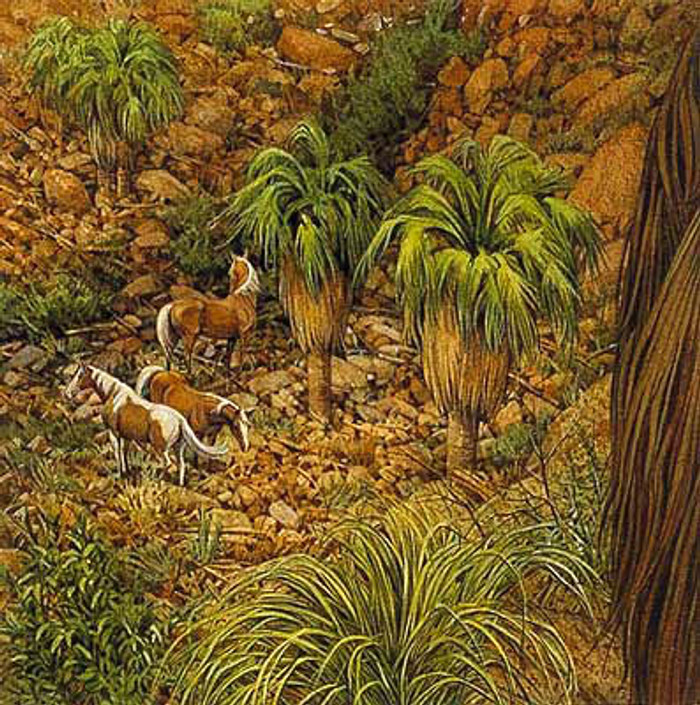 WEST FORK PINTOS, by Bev Doolittle OPEN EDITION PRINT