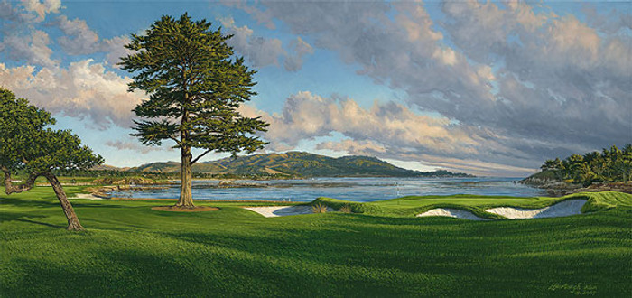 18th Hole, Pebble Beach Golf Links, by Linda Hartough LIMITED EDITION CANVAS