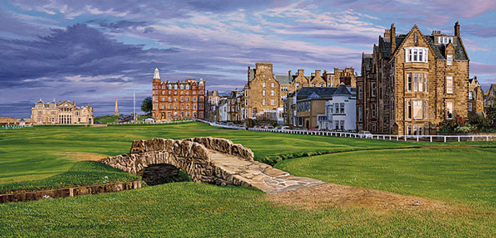 The Swilcan Bridge - The 18th Hole of the Old Course, St. Andrews Links, by Linda Hartough MUSEUMEDITION CANVAS