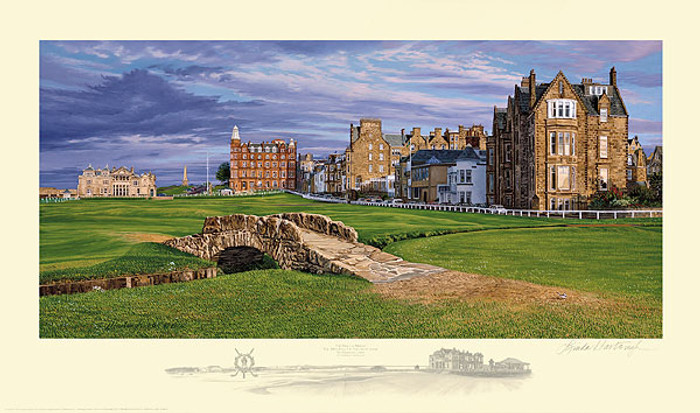 The Swilcan Bridge - The 18th Hole of the Old Course, St. Andrews Links, by Linda Hartough LIMITED EDITION PRINT