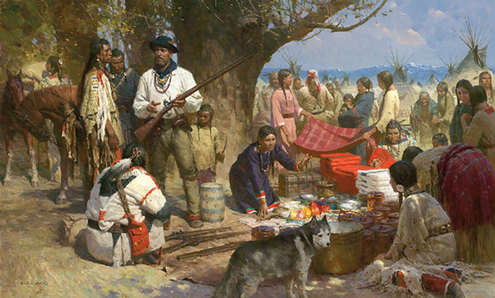 Trading with the Blackfeet, Montana Territory, 1860, by Z.S.  Liang MASTERWORK CANVAS EDITION