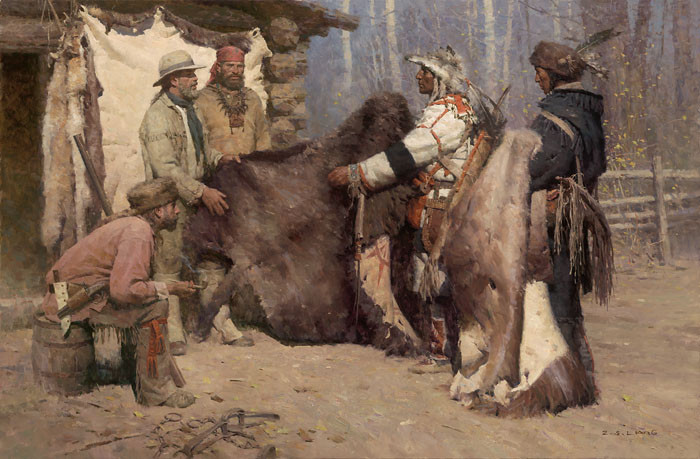 Painted Robe for Powder and Ball, Musselshell Valley,, by Z.S.  Liang MASTERWORK CANVAS EDITION