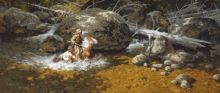 Covering His Trail, by Frank C. McCarthy SMALLWORK CANVAS EDITION