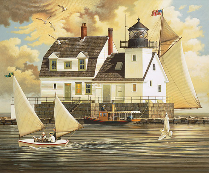 Rockland Breakwater Light, by Charles Wysocki LIMITED EDITION CANVAS
