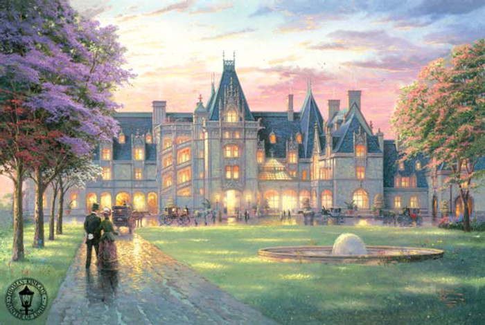 Elegant Evening at the Biltmore, Thomas Kinkade, 24x36 Enhanced Canvas