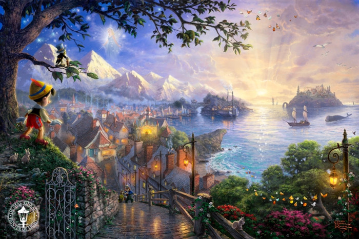 Pinocchio Wishes Upon A Star, Thomas Kinkade, Classic Edition