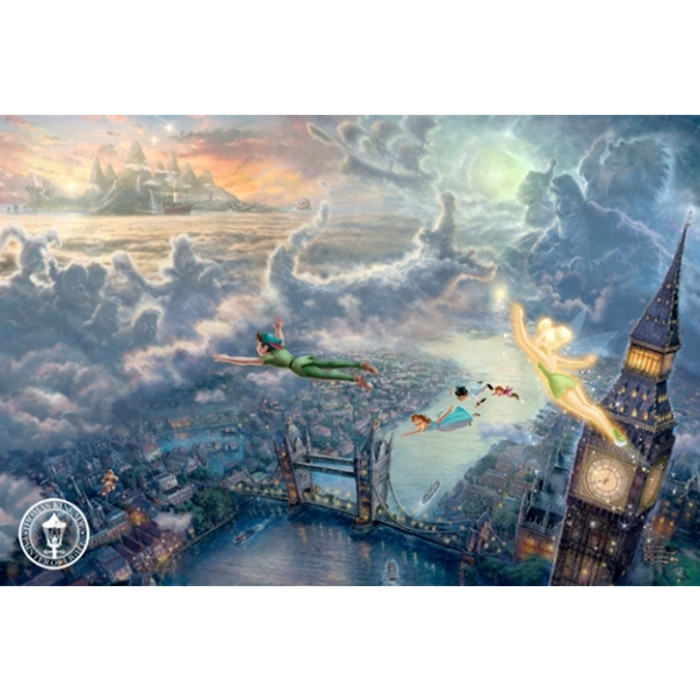 Tinkertbell And Peter Pan Fly To Neverland, Thomas Kinkade, Classic Edition