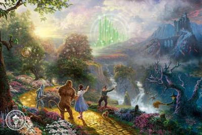 Dorothy Discovers the Emerald City, by Thomas Kinkade 18x27 canvas, framed