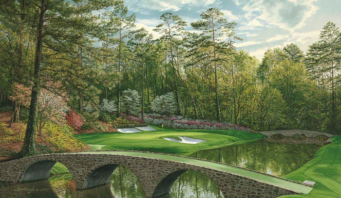 Augusta 12th Hole, 2008 'Golden Bell' Linda Hartough Canvas Giclée