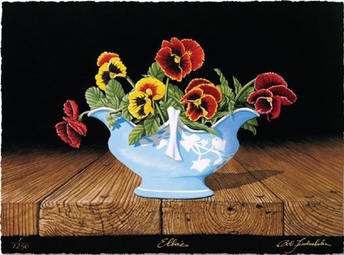 Ellas, Pansies with Gravy Boat  by Bob Timberlake Print Limited Edition
