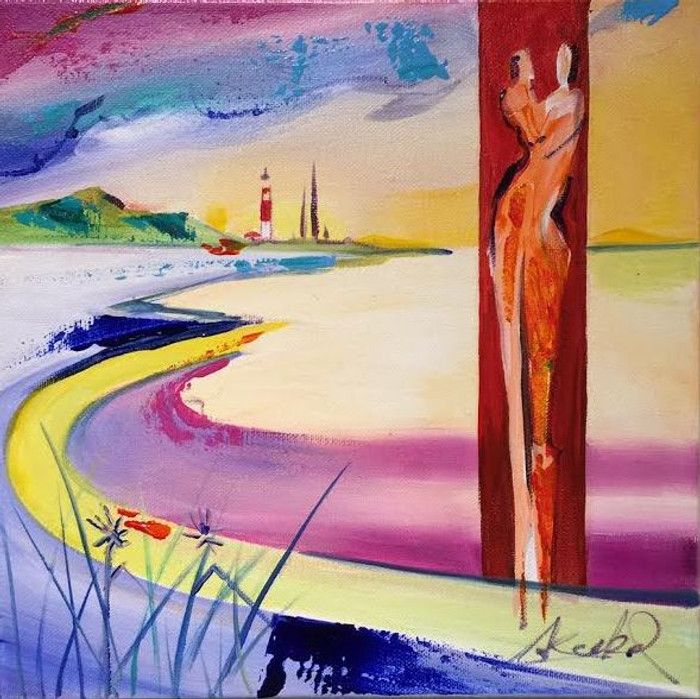 Alfred Gockel lighthouse with couple painting