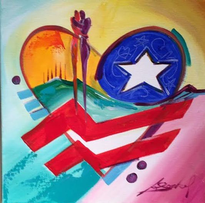 USA Patriotic Heart Painting by Alfred Gockel