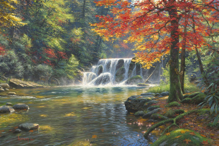 Tranquil Falls by Mark Keathley | framed