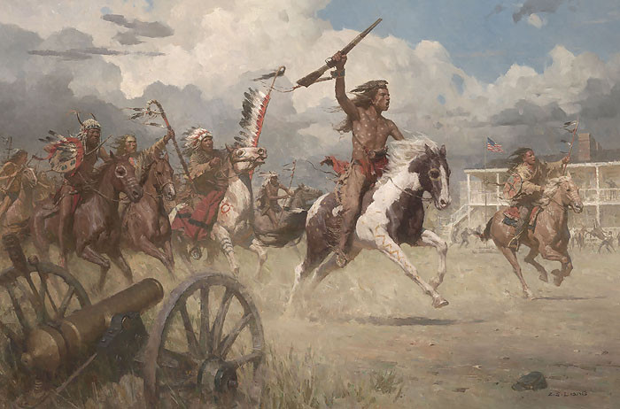 The Charge of Crazy Horse on Fort Laramie, 1864 MASTERWORK CANVAS EDITION by Z.S.  Liang