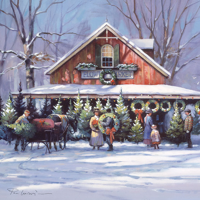 Christmas at the Flower Market by Paul Landry