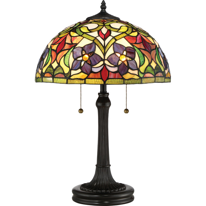 Violets Tiffany Style Art Glass Lamp