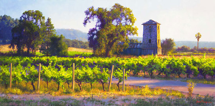 Vineyard Tankhouse, June Carey  MASTERWORK CANVAS EDITION