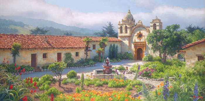 Little Old Mission by the Sea, Circa 1940, June Carey  MASTERWORK CANVAS EDITION