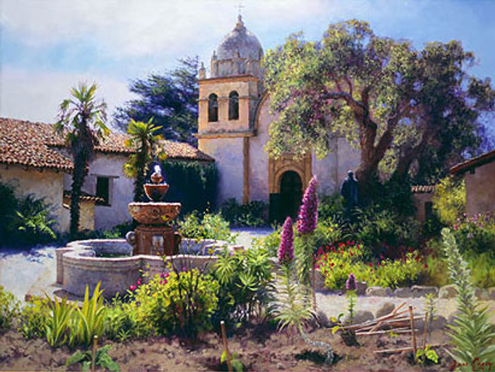 Springtime in the Mission Garden, June Carey  LIMITED EDITION CANVAS