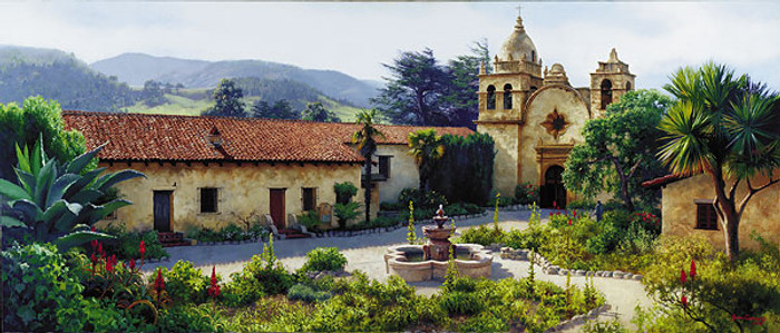 THE MISSION COURTYARD, June Carey  LIMITED EDITION PRINT