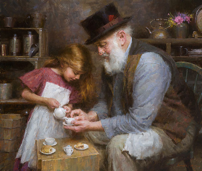 Papa's Tea, Morgan Weistling LIMITED EDITION CANVAS