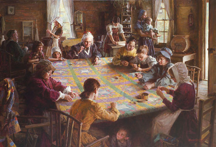 The Quilting Bee, 19th Century Americana, Morgan Weistling LIMITED EDITION CANVAS