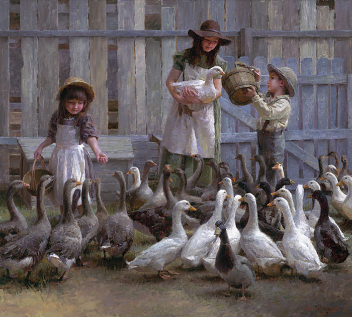 Feeding the Geese, Morgan Weistling LIMITED EDITION CANVAS