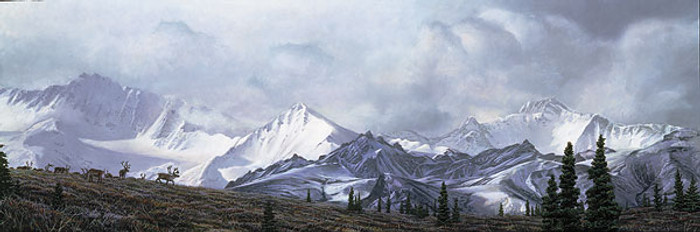 IN THE HEART OF ALASKA, Stephen Lyman LIMITED EDITION CANVAS