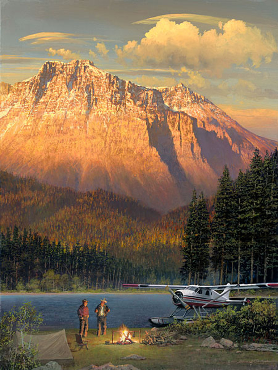 Fish Tales at Beaver Camp, William S. Phillips LIMITED EDITION CANVAS