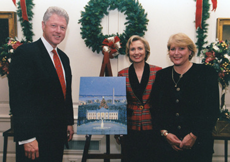 Sally with Bill and Hilary Clinton