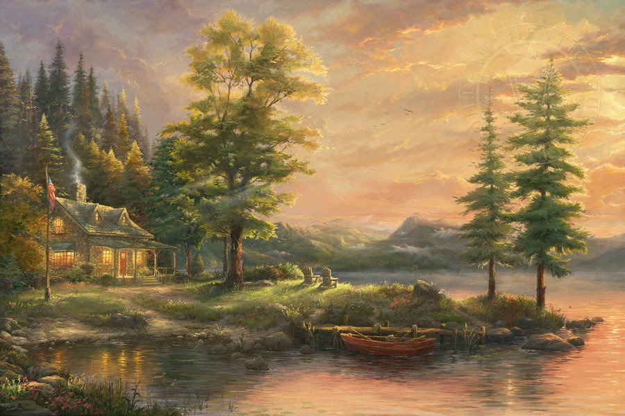 Morning Light Lake by Thomas Kinkade