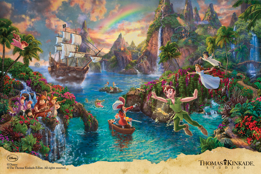 Disney Peter Pan's Never Land, Thomas Kinkade Studios 18x27 Canvas