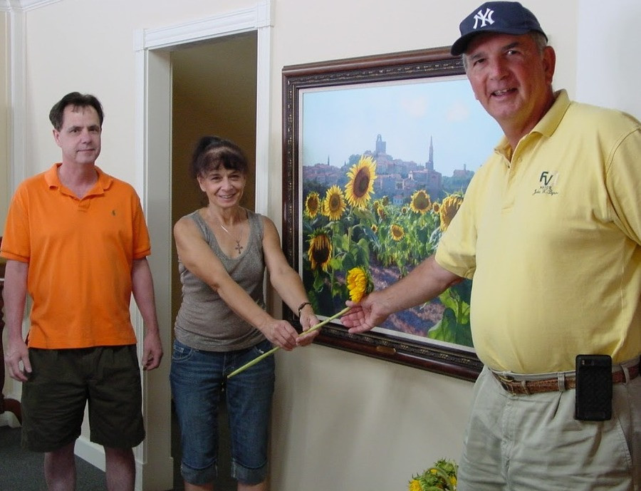 June Carey with Mayor John Byrne and Rick Mullen at Ashley's Art Gallery