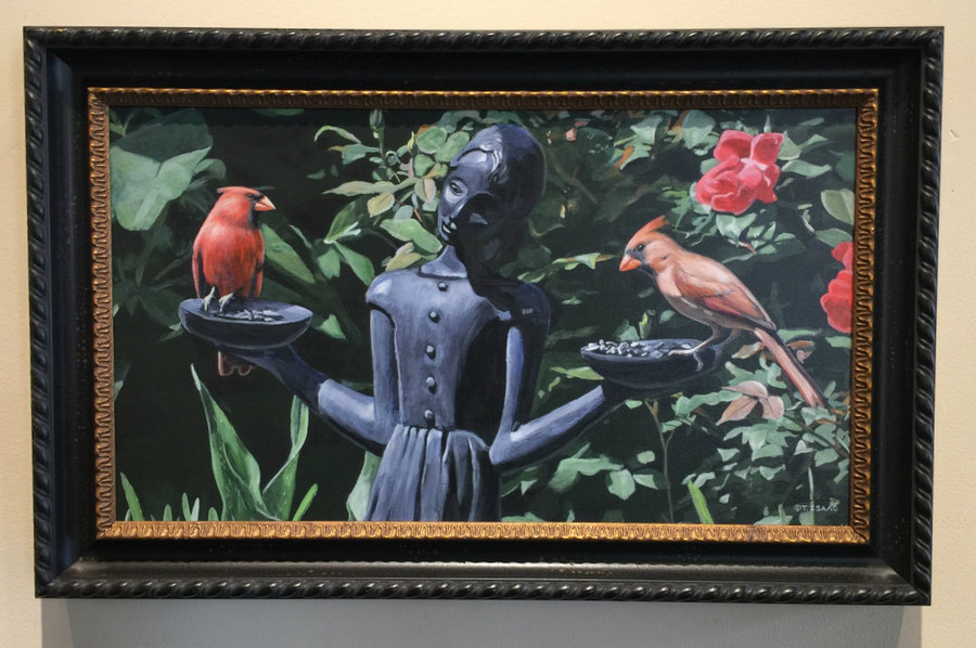 Bird Girl - Cardinals by Terry Isaac - Framed