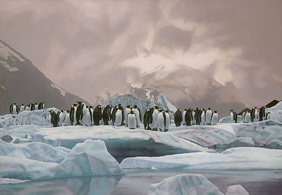 The Emperors Ball penguins, Rod Frederick   LIMITED EDITION CANVAS